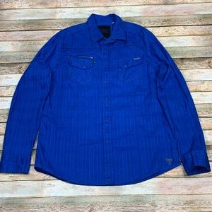Guess Button Down Blue Shirt Zipper Pocket UAE L